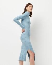 River Island Blue split hem knitted midi dress   high neck sweater dresses