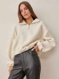 Reformation Bolton Zip Jacket in Ivory – womens relaxed fit faux shearling pullover tops – women's sherpa pullovers