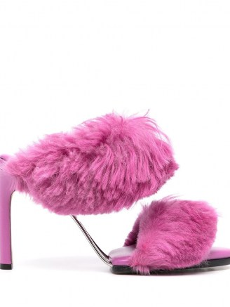 Bottega Veneta faux-fur strap open-toe sandals ~ glamorous fluffy high heel mules