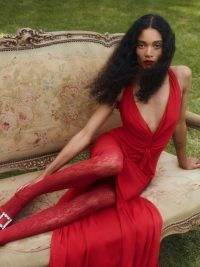 Reformation Bray Dress in Cherry – red deep V neck maxi dresses – plunge front neckline – glamorous occasion fashion