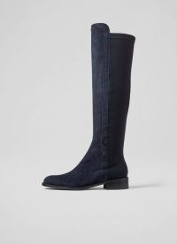 L.K. BENNETT BRONTE NAVY SUEDE AND ELASTIC KNEE-HIGH BOOTS ~ womens black and blue panel boots ~ women's stylish autumn and winter footwear ~ colour block