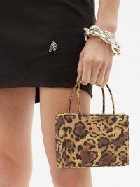 AMINA MUADDI Amina Gilda leopard-print silk-satin box bag – small luxe animal print bags ~ glamorous top handle mini handbags