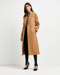 RIVER ISLAND Brown belted double breasted coat ~ womens longline tie waist autumn coats