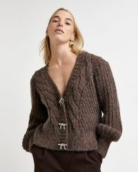 River Island Brown chunky knit cardigan   diamante bow button cardigans   womens relaxed fit V-neck cardi   women's on trend knitwear