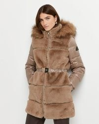 RIVER ISLAND Brown faux fur belted coat ~ glamorous high neck winter coats ~ hooded outerwear