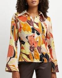 River Island Brown floral shirt   womens 70s vintage style shirts   women's retro fashion