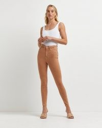 River Island Brown high waisted skinny jeans   neutral high rise denim skinnies