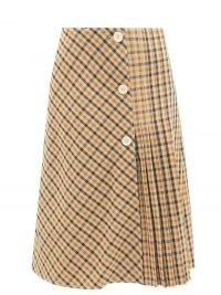 WALES BONNER Kalimba checked pleated wool-blend skirt / beige and brown check print knife pleat midi skirts