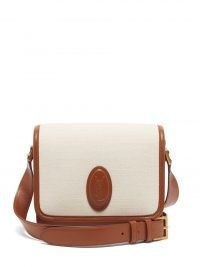 SAINT LAURENT Le 61 canvas-panel leather cross-body bag in cream and brown | chic designer crossbody bags | neutral shoulder bags