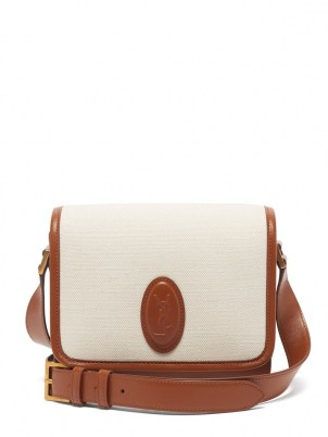 SAINT LAURENT Le 61 canvas-panel leather cross-body bag in cream and brown | chic designer crossbody bags | neutral shoulder bags - flipped