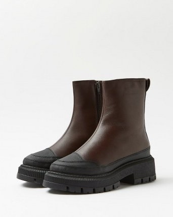 RIVER ISLAND Brown leather chunky boots ~ womens thick sole winter footwear