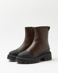 RIVER ISLAND Brown leather chunky boots ~ womens thick rubber sole footwear ~ winter fashion