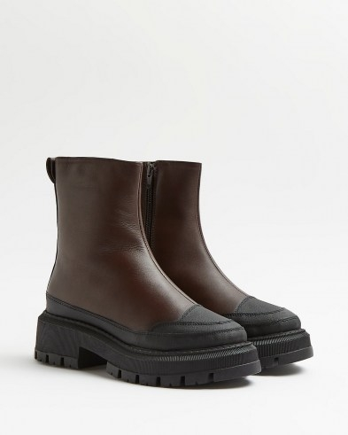 RIVER ISLAND Brown leather chunky boots ~ womens thick rubber sole footwear ~ winter fashion - flipped