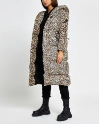 RIVER ISLAND Brown leopard print puffer coat / womens puffy animal print coats / women's hooded winted outerwear