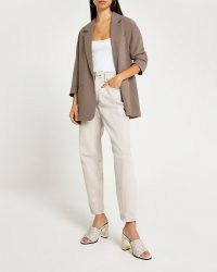 RIVER ISLAND Brown oversized blazer ~ womens open front 3/4 length sleeve fashion blazers