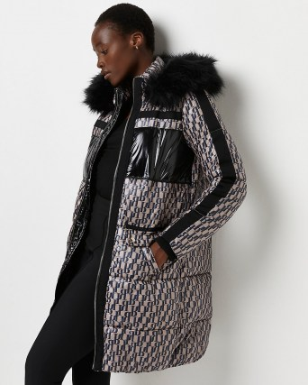 River Island Brown RI monogram puffer coat – womens quilted winter coats with faux fur lined hood - flipped