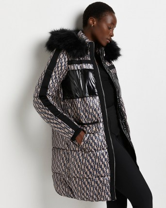 River Island Brown RI monogram puffer coat – womens quilted winter coats with faux fur lined hood