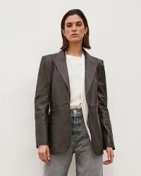 RIVER ISLAND Brown RI Studio Leather Blazer ~ womens tailored fit blazers ~ women's luxe style jackets