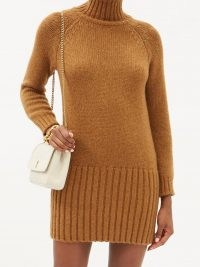 SAINT LAURENT Ribbed-hem brown alpaca-blend mini dress ~ high roll neck knitted dresses ~ vintage inspired knitwear