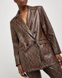 RIVER ISLAND Brown snake print oversized blazer ~ printed blazers ~ glamorous jackets