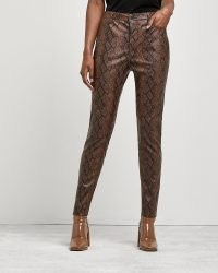 RIVER ISLAND Brown snake print skinny trousers / animal prints / glamorous skinnies