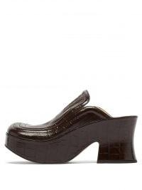 BOTTEGA VENETA Wedge crocodile-effect black leather clogs   croc embossed retro platform mules   womens vintage style platforms