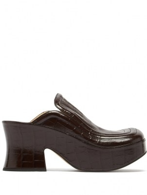 BOTTEGA VENETA Wedge crocodile-effect black leather clogs   croc embossed retro platform mules   womens vintage style platforms - flipped