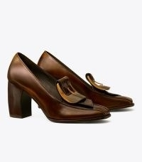 TORY BURCH BUCKLE HEEL LOAFER in Brown ~ womens curved block heel square toe loafers ~ women's designer autumn and winter shoes