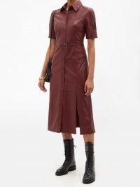 ALTUZARRA Kieran burgundy leather shirt dress ~ luxe short sleeve button front dresses ~ colours for autumn wardrobes