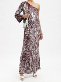 ASHISH Zebra-sequinned one-sleeved gown – silver and burgundy sequin zebra striped maxi dresses – glamorous one shoulder animal stripe gowns