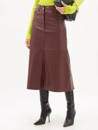 STAND STUDIO Riley faux-leather A-line midi skirt | luxe burgundy skirts