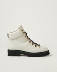 JIGSAW Burnham Leather Lace Up Boot in Cream