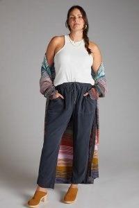 Pilcro The Cottage Corduroy Trousers Navy – dark blue jogger style drawstring waist pants