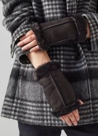L.K. BENNETT CAITRIN BLACK SHEARLING GLOVES / womens fingerless gloves / women's luxe winter accessories