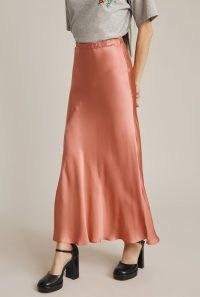 GHOST CARO SKIRT in Pink ~ fluid satin bias cut skirts