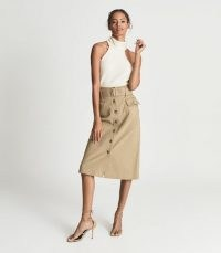 REISS CARRIE BELTED MIDI SKIRT CAMEL ~ light brown patch pocket front button up skirts