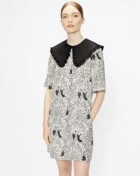 OSCALA Cat print mini dress / oversized collar dresses / animal print fashion / cats