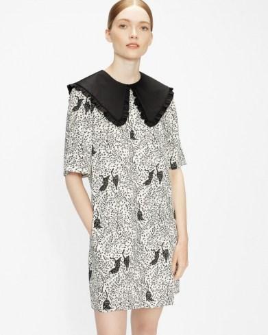 OSCALA Cat print mini dress / oversized collar dresses / animal print fashion / cats - flipped
