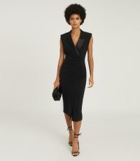 REISS CECILE TUXEDO SLEEVELESS MIDI DRESS BLACK ~ chic LBD ~ evening jacket inspired occasion dresses