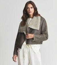 REISS CELESTE SHEARLING JACKET BROWN ~ women's luxe winter jackets ~ womens luxury outerwear