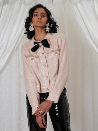 sister jane DREAM Ornament Tweed Cardigan Veiled rose / bow and crystal sequin embellished cardigans / romantic pink sequinned knitted jackets / sparkly feminine knitwear