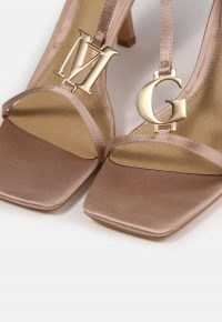 MISSGUIDED champagne mg branded heeled sandals – strappy square toe mid heels