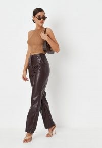 MISSGUIDED chocolate faux leather straight leg trousers – womens dark brown luxe style trousers