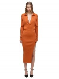 Emily Ratajkowski in a long sleeve rust coloured dress with side button detail, SELF PORTRAIT Cinnamon Ribbed Knit Midi Dress, on Instagram, 29 August 2021 | celebrity social media fashion | autumn dresses
