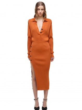 Emily Ratajkowski in a long sleeve rust coloured dress with side button detail, SELF PORTRAIT Cinnamon Ribbed Knit Midi Dress, on Instagram, 29 August 2021 | celebrity social media fashion | autumn dresses - flipped
