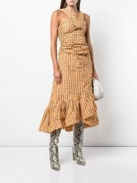Olivia Palermo checked dress, Cinq A Sept plaid-check ruched dress, on Instagram while out in New York, August 2021 | celebrity social media dresses | star style fashion