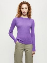 JIGSAW Cloud Cashmere Crew Jumper in Purple ~ womens everyday luxe jumpers
