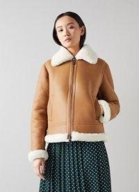 L.K. BENNETT CLYDE TAN LEATHER AVIATOR JACKET ~ womens luxe light-brown jackets ~ women's stylish casual winter outerwear