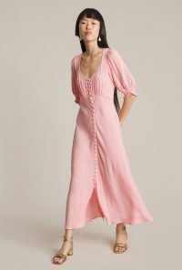 GHOST COCO DRESS in Pink ~ short volume sleeve button through dresses