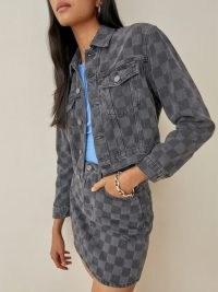 REFORMATION Cora Shrunken Denim Jacket in Checkered / womens casual check print jackets